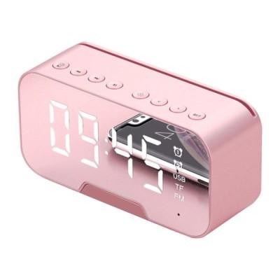 Bluetooth5.0スピーカーFMラジオミラーLED目覚まし時計USB充電器ホームピンク