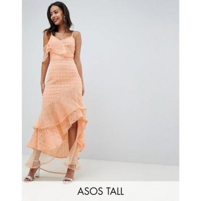 エイソス ASOS Tall レディース ワンピース ワンピース・ドレス ASOS DESIGN Tall asymmetric rufflle broderie maxi dress Peach