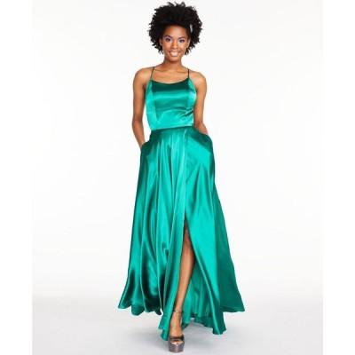 ベッツィアンドアダム Betsy & Adam レディース パーティードレス ワンピース・ドレス Satin Strappy-Back Gown Emerald Green