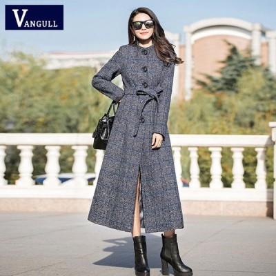 Vangull ウールコート レディース クラシック ロングウールコート ジャケット トレンチ 格子柄 Dark Blue M