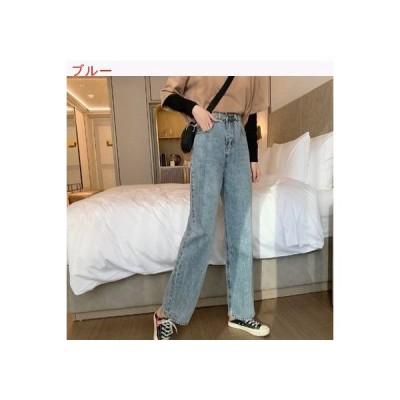 【送料無料】ハイウエスト 女性のジーンズ ストレート ルース 春 韓国風 何でも似合   364331_A63356-1839089