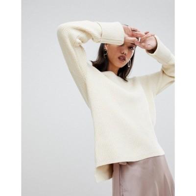 セレクティッド レディース ニット&セーター アウター Selected Femme boat neck wide cuff sweater Beige