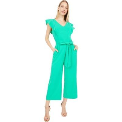 タハリ Tahari by ASL レディース オールインワン ジャンプスーツ ワンピース・ドレス Stretch Crepe Ruffle Shoulder Cropped Leg Jumpsuit Dynasty Green