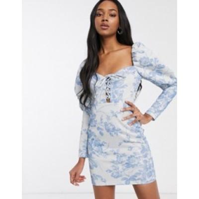 エイソス レディース ワンピース トップス ASOS DESIGN foil floral printed lace up puff sleeve bodycon mini dress Multi