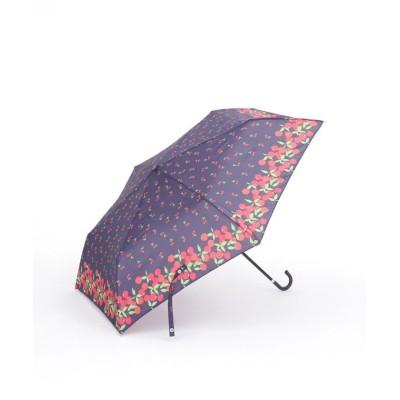 【アフタヌーンティー・リビング】 チェリー柄晴雨兼用折りたたみ傘 雨傘 レディース ネイビー ― Afternoon Tea LIVING