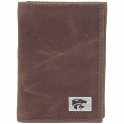 Eagles Wings イーグルス ウイングズ スポーツ用品  Kansas State Wildcats Concho Leather Tri-Fold Wallet - Brown