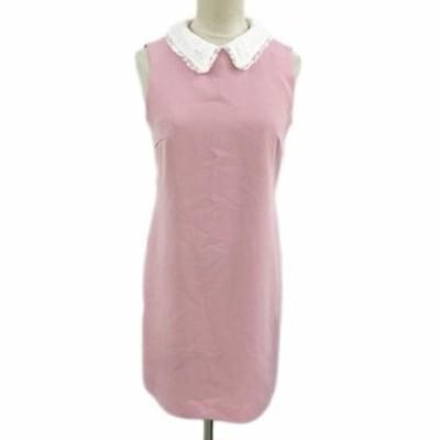 【中古】ビーラディエンス ワンピース タイト ミニ 刺繍 衿付き ノースリーブ F ピンク 白 ホワイト レディース