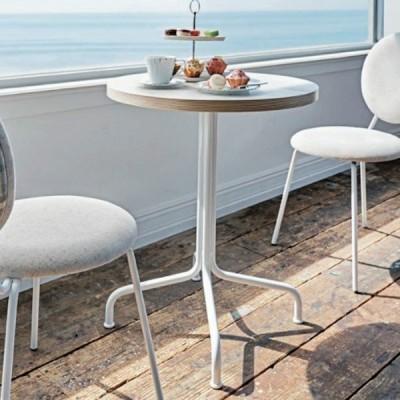 カフェテーブル丸型積層合板風天板コーヒーテーブル 業務用家具店舗用家具直径60cmサイズ ホワイト・ブラック st943t-ft716f