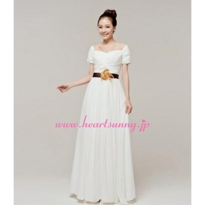 ウェディングドレス 半袖3分袖 花飾りベルト 折り目 E208
