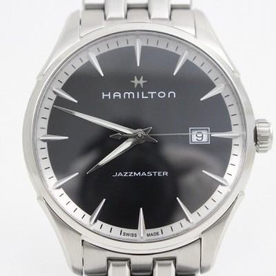 ハミルトン ジャズマスター クォーツ メンズ 腕時計 黒文字盤 純正SSベルト H324510【いおき質店】管理2
