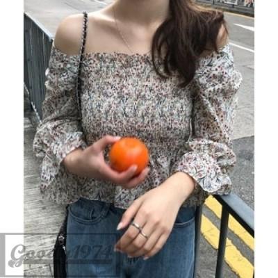 オフショルダー フラワー スリーブ シャツ 花柄 シャーリング 韓国