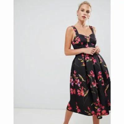 エイソス ワンピース floral print midi prom dress Multi