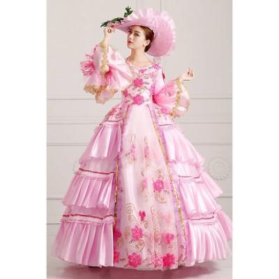 ピンクドレス 王族服 オーダーメイド可能 貴族服装 ヨーロッパ風結婚式服装 復古風 演出服 パーティードレス ウェディングドレス パニエ追加可