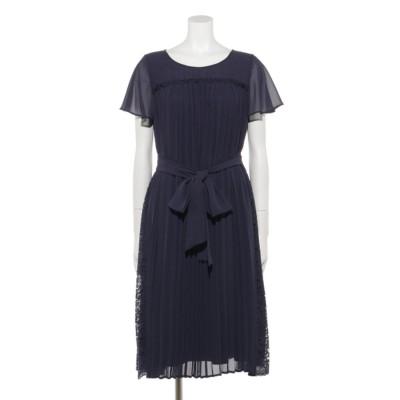 【Rewde】プリーツ×レースドレス(9R04-11051) (ネイビー)