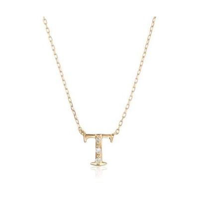 [エステール] ESTELLE K18 ダイヤモンド イエローゴールド イニシャル ネックレス(T) 0344-1907-0019-0000