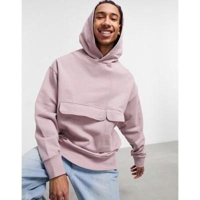 エイソス メンズ パーカー・スウェット アウター ASOS DESIGN heavyweight oversized hoodie with double pocket in pink