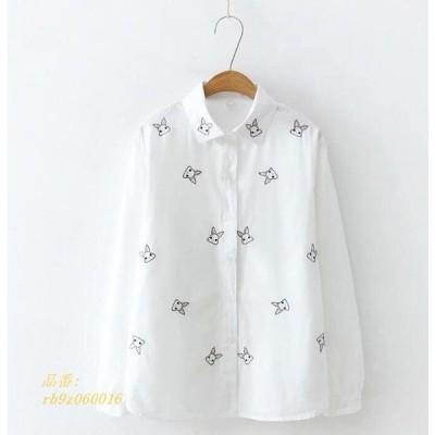 長袖ポロシャツ 長袖シャツ上着トップス綿Tシャツ兎柄刺繍エスニック風ナチュラル森ガール風カジュアル大人エレガント可愛いきれいめ二点
