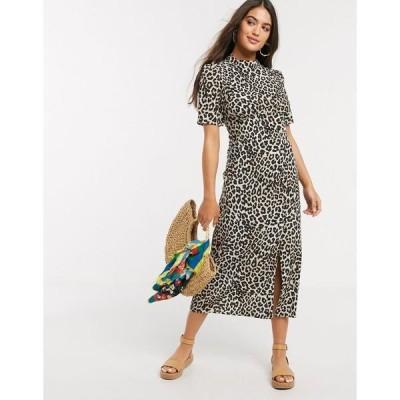 エイソス レディース ワンピース トップス ASOS DESIGN midi tea dress with buttons and split detail in leopard print Leopard print