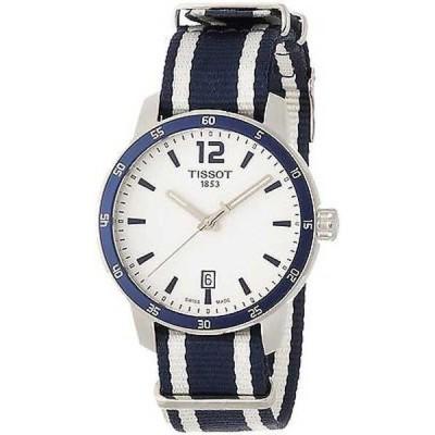 腕時計 ティソット Tissot メンズ T0954101703701 'Quickster Nato' Extra バンズ ブルー and ホワイト 腕時計