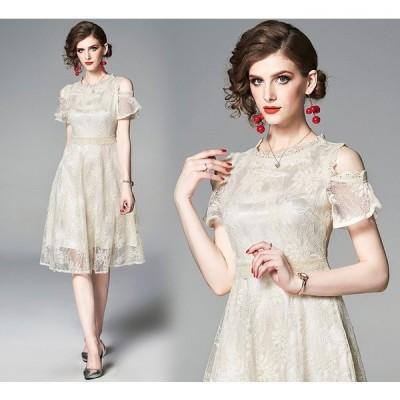 結婚式ドレス レース パーティードレス 20代30代 結婚式 ワンピースドレス おしゃれ お出かけワンピースドレス 安い かわいいドレスワンピース
