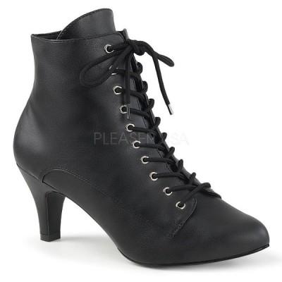 アンクル ブーツ 黒 ブラック フェイクレザー Pleaser プリーザー