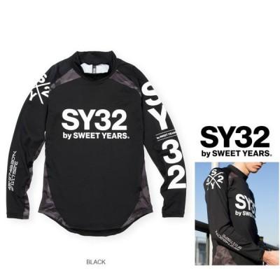 SY32 by SWEET YEARS(スィートイヤーズ) 11463 RUSH L/S TEE アーム袖ロゴ 長袖ラッシュガード Color:BLACK(ブラック)