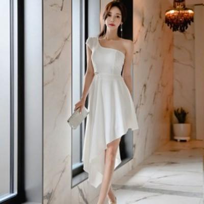 ワンピース きれいめ 膝丈 ドレス パーティードレス アシンメトリー ワンショルダー ホワイト 白 大人 上品