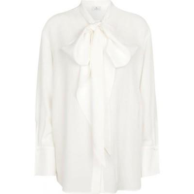 エトロ ETRO レディース ブラウス・シャツ トップス Tie-neck silk blouse Bianco