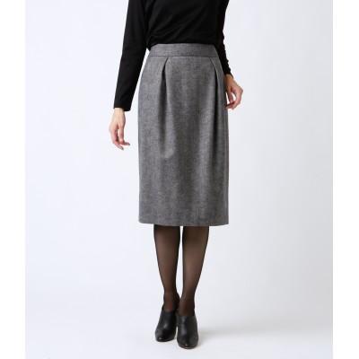 NEWYORKER(ニューヨーカー)/カシミヤ混ウールヘリンボーン タックストレートスカート