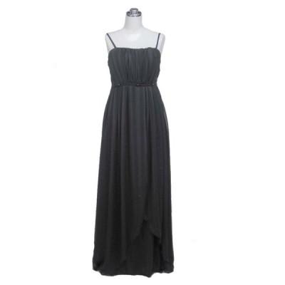 胸元ビーズストライプシフォンロングドレス ブラック L7