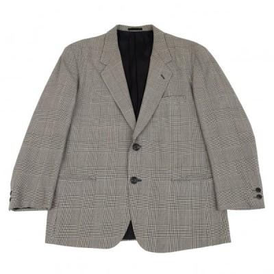 イッセイミヤケ メンISSEY MIYAKE MEN ウールグレンチェック2Bジャケット 白黒M 【メンズ】