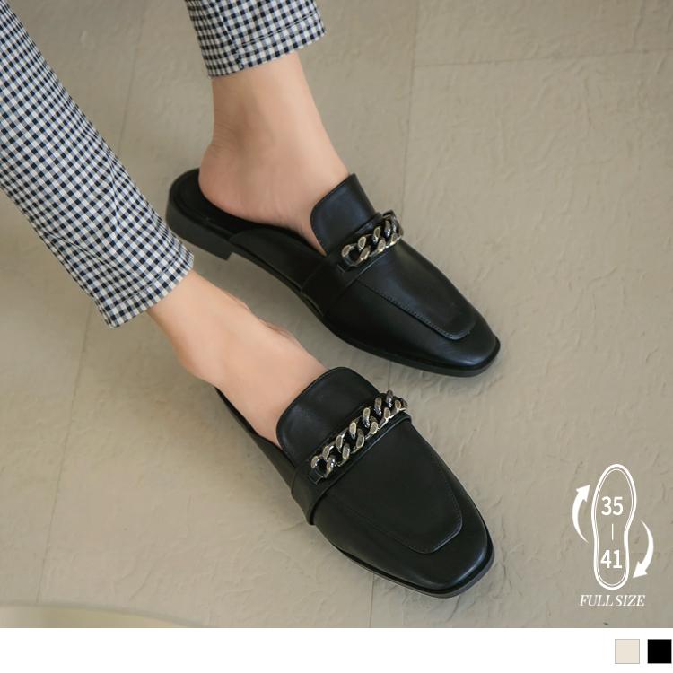 質感金屬鏈條英倫穆勒鞋