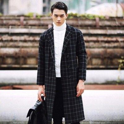西裝外套 長版大衣-英倫風時尚格子秋冬保暖男外套72p24【獨家進口】【米蘭精品】