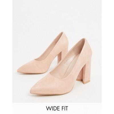 レイドワイドフィット レディース ヒール シューズ RAID Wide Fit Neha block heeled shoes in blush Blush suede