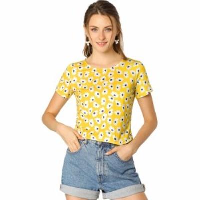 Allegra K 花柄 ブラウス トップス tシャツ 半袖 丸首 カジュアルレディース イエロー XL
