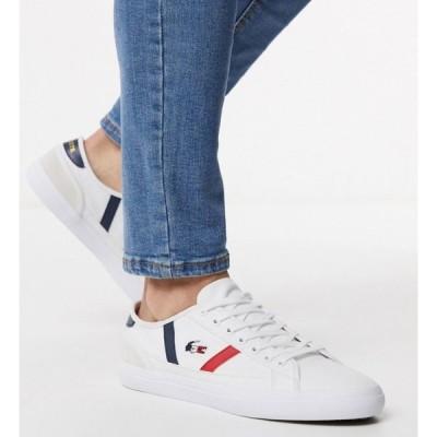 ラコステ Lacoste メンズ スニーカー シューズ・靴 sideline tri trainers in white canvas ホワイト