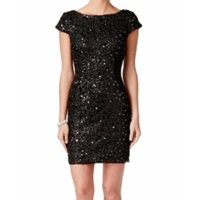 Adrianna Papell アドリアーナ パペル ファッション ドレス Adrianna Papell NEW Black Womens Size 6 Sequin Lace Sheath Dress