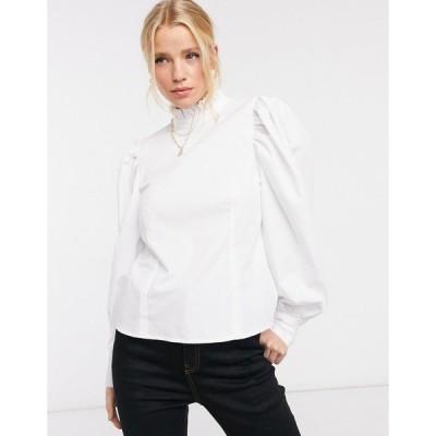 エイソス レディース シャツ トップス ASOS DESIGN long sleeve cotton top with ruffle high neck in white White
