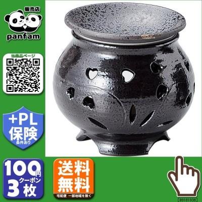 送料無料 キャンドル式茶香炉 黒釉ハート M-1601 b03