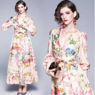 予約商品 大きいサイズ レディース パーティードレス 花柄プリント ロングドレス  オーバーサイズ 韓国ファッション ビッグサイズ LL 3L