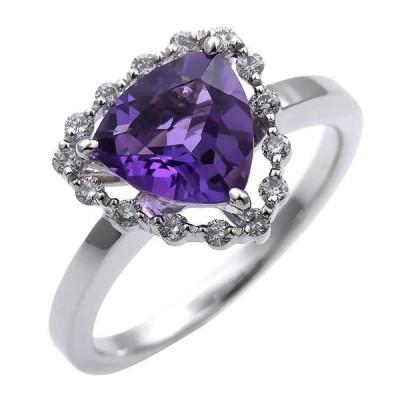 Pt900 プラチナ アメジスト 1.40ct ダイヤモンド 0.19ct リング 6BTP4294820-KA 天然石