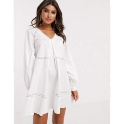エイソス レディース ワンピース トップス ASOS DESIGN mini smock dress with long sleeves and contrast stitching White