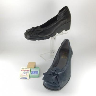 フィズリーン Fizzreen FIZZ REEN 靴 1634 クロ ネイビー コンフォートシューズ 厚底 パンプス 花飾り スリッポン 歩きやすい靴 レディース 立ち仕事 疲れない靴