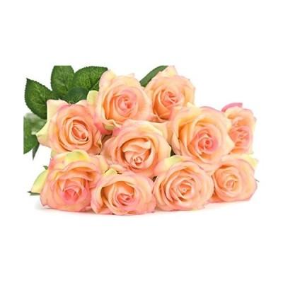 FiveSeasonStuff 造花 バラ 生花みたい リアルな手触り お祝い 飾り 生け花 結婚式 枯れない 多色選択 DIY 10枚入り