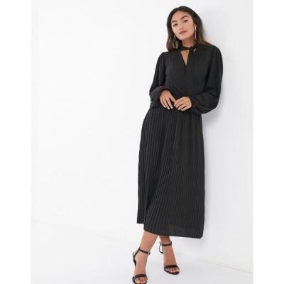 エイソス レディース ワンピース トップス ASOS DESIGN long sleeve maxi dress with tie neck in black Black