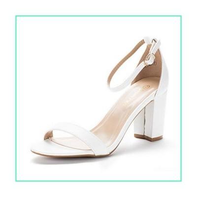 DREAM PAIRS Women's Chunk White Pu Low Heel Pump Sandals - 8 M US並行輸入品