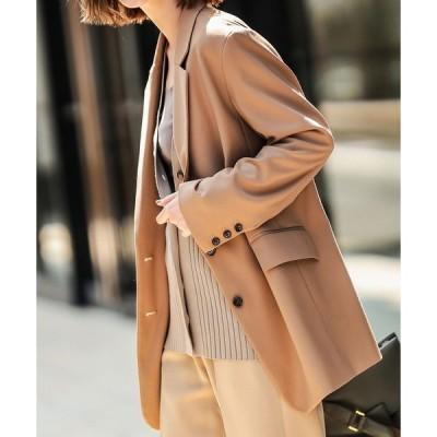 ジャケット テーラードジャケット ラフなサイズ感と上品なツヤが女性らしい TRツイルオーバーサイズジャケット(シングル)