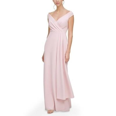 エリザジェイ ワンピース トップス レディース Off-The-Shoulder Side-Drape Gown Blush