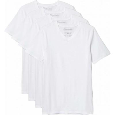 パクト PACT メンズ トップス 4点セット Vネック アンダーシャツ Stretch-Fit V-Neck Undershirt 4-Pack White