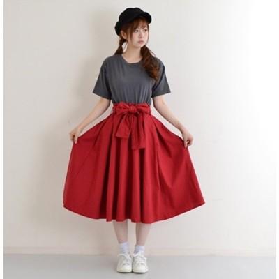 ロングスカート フレアスカート おしゃれ スカート 可愛い 在庫限り ウエストリボン綿麻フレアスカート